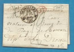 Meuse - Damvillers Pour Bourg Du Péage (Drome). CàD Type 12 + Taxe  12. LAC De 1831 - Postmark Collection (Covers)