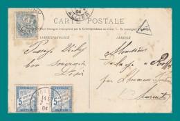 2 Timbres Taxe A 5 C ( Oblitération Le Pontouvre Charente 1904 ) Sur CPA De Vichy Source Adressée à Roffit Par L Houmeau - Lettres Taxées