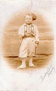 CARTE PHOTO ENFANTINA ENFANT COSTUME PANOPLIE MILITAIRE ZOUAVE ARMEE 1900 ??? - Enfants