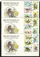 MONTSERRAT  1984  BIRDS  SET/3  FDC's - Birds