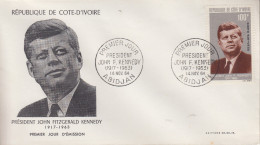 Enveloppe  FDC  1er  Jour    COTE  D' IVOIRE    Président   John  KENNEDY   1964 - Kennedy (John F.)