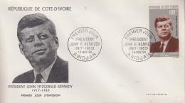Enveloppe  FDC  1er  Jour    COTE  D' IVOIRE    Président   John  KENNEDY   1964