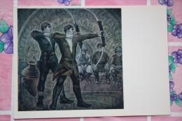 """Georgia. """"Old Archers"""" By Boldyrev  - OLD USSR Postcard -1976 - ARCHERY - Arch - Tir à L'Arc"""