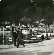 Italie Lac De Come Côme Embarcadere De San Agostino Ancienne Photo Stereo 1900 - Stereoscopic