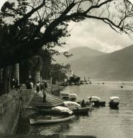 Italie Lac De Come Tremezzo Villa Carlotta Barques Ancienne Photo Stereo 1900 - Stereoscopic