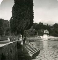 Italie Lac De Come Tremezzo Débarcadere Villa Ancienne Photo Stereo 1900 - Stereoscopic