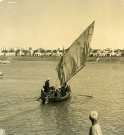 Egypte Assouan Felouque Arabe Bateau A Voile Ancienne Photo Stereo NPG 1900 - Stereoscopic