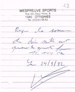 Ottignies - Mont-Saint-Guibert - Mespreuve Sports - 2 Notes De Frais De 1982 - Sports & Tourisme