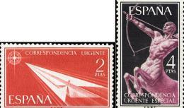 España 1185/1186 ** Urgentes. 1956 - 1951-60 Nuevos & Fijasellos