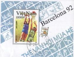 Vietnam (Viet Nam) 1992 Olympic Games, Basketball Used Cancelled Block M/S (U-56) - Zomer 1992: Barcelona