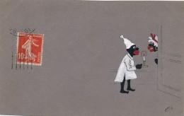 Carte Originale Peinte Gouache - Couple Noirs à La Bougie - Monogramme C.M. - Gouaches