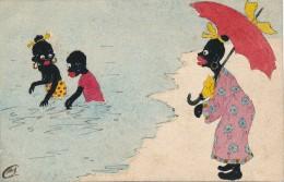 Carte Originale Peinte Gouache - Femme Et Enfants Noirs à La Baignade - Monogramme C.M. - Gouaches