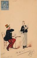 Carte Originale Peinte Aquarelle - L'absinthe - Signé S. Robert - Daté 1908 - Watercolours