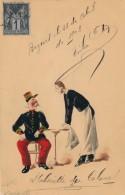 Carte Originale Peinte Aquarelle - L'absinthe Du Colonel - Signé S. Robert - Daté 1908 - Watercolours