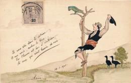Carte Originale Peinte Aquarelle - L'homme Et Le Perroquet Signé Annie - Daté 1908 - Aquarelles