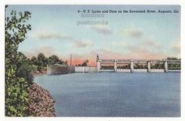 AUGUSTA GA,  U.S. LOCKS AND DAM, SAVANNAH RIVER C1940s Vintage Linen Georgia Postcard [6403] - Augusta