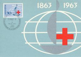 D27768 CARTE MAXIMUM CARD 1963 SWITZERLAND - RED CROSS CP ORIGINAL - Red Cross