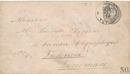 LIBAWA / Poland - 1877 , Envelope / Ganzsachen-Umschlag (8 Kopeken) Nach Fredericia / Denmark - Briefe U. Dokumente