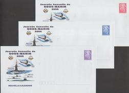 Nouvelle Calédonie 2006. 3 Entiers Postaux (rouge Intérieur, Bleu France, Mauve Monde). Sous-marins - Submarines