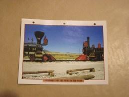 CONSTRUCTION DES VOIES AU FAR WEST Locomotive Vapeur Etats Unis Amérique Usa Fiche Descriptive Ferroviaire Chemin De Fer - Fiches Illustrées