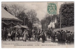 94-Villeneuve-Saint-Georges- La Fête-Départ De La Course Aux Anes- Animée-CPA- Scan Recto-verso - Villeneuve Saint Georges