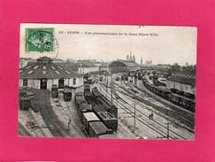 21 CÔTE D'OR, DIJON, Vue Panoramique De La Gare Dijon-Ville, Animée, Trains, Locomotives, (Balier Marchet) - Dijon