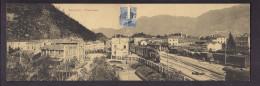 CPA DOUBLE ITALIE - ROCCHETTE - Panorama - TB CP Double Intérieur Village + GARE TRAIN WAGONS Publicité Garagiste Verso - Italie