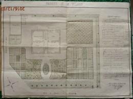 Hte Savoie -Annemasse : PLAN De La PROPRIETE De Mr PELLARIN Fait à  St JULIEN Fait En 1882   Signé ,dessiné Et Aquarellé - Architecture