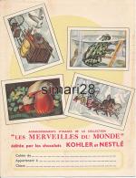 PROTEGE-CAHIERS - KOHLER ET NESTLE - LES MERVEILLES DU MONDE - Cocoa & Chocolat