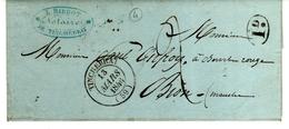 T 14 TINCHEBRAY 13 MARS 1846 S / L Avec Texte + 1 Décime Rural En Noir - 1801-1848: Précurseurs XIX