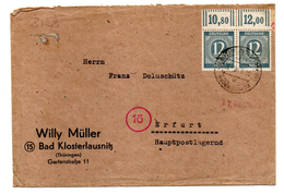 500/3157 - OCCUPAZIONE ALLEATA , Lettera Per Erfurt Da Bad Klosferlausnitz - Germania