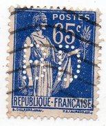 France - N°365 - 65c Type Paix Perforé B D - BD Perfin - France