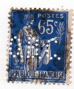 France - N°365 - 65c Type Paix Perforé O.B.C. - OBC - Perfin - France