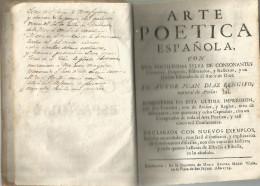 TRES RARE OUVRAGE DE 1759 SUR L'ART POETIQUE ESPAGNOL. - Literature