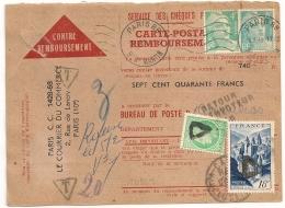 RARE AINSI, TAXE 20 F Sur CARTE POSTALE REMBOURSEMENT Affranchissement GANDON 12F. PARIS 88. Bd ST MARTIN. - Poststempel (Briefe)
