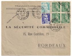TARIF à 15F. BEL AFFRANCHISSEMENT COMPOSE. BAYONNE Haute Pyrénées. - 1921-1960: Période Moderne