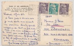 DESTINATION ALLEMAGNE, TARIF 18F GANDON, PARIS XVIII RUE DUC Pour RENDSBURG. - Postmark Collection (Covers)