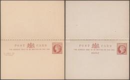 Grande-Bretagne 1878-1882. 2 Cartes Postales, Entiers Avec Réponse Payée, Papiers Mince (12/2) Et épais (14/2) - Entiers Postaux