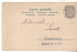 28 Chartres- Carte De Voeux Avec 1cent Type Blanc, Cachet Bleu Postes Et Télegrammes Eure Et Loir. Rare Usage. - Marcophilie (Lettres)
