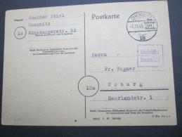 1945 , CHEMNITZ      , GEBÜHR BEZAHLT , Klare Stempel Auf Karte - Sowjetische Zone (SBZ)