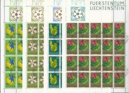 LIECHTENSTEIN  539-542,  4 Kleinbogen (20 Marken) Gestempelt,  Blumen 1971 - Blocks & Sheetlets & Panes
