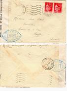 Enveloppe France à France, Ouvert Par Controle Militaire, Avec Une Paire De 50 C Paix - Postmark Collection (Covers)