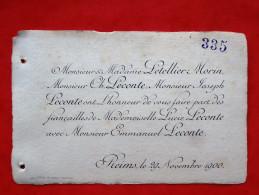 51 REIMS Faire - Part De Fiancailles  PELLETIER-MORIN   LECONTE - Engagement