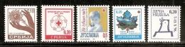 Yugoslavia, Serbia, 1996, Surcharge- Complete Year, MNH (**) - 1992-2003 Federal Republic Of Yugoslavia