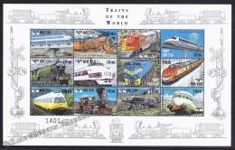 Bhutan - Bhoutan 1999 Yvert 1313- 24, Trains Of The World - Locomotives - MNH - Bhutan