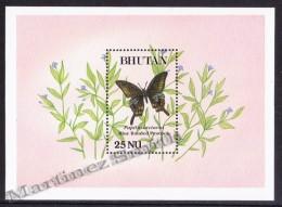 Bhutan - Bhoutan 1990 Yvert BF 210, Fauna, Butterflies - Miniature Sheet - MNH - Bhoutan