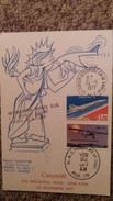 CPSM AVION CONCORDE 1 ER VOL 22 NOVEMBRE 1977 PARIS NEW YORK TIMBRE CACHET  DOC TRASPORTE A BORD CERTIFIE HUISSIER - 1946-....: Ere Moderne