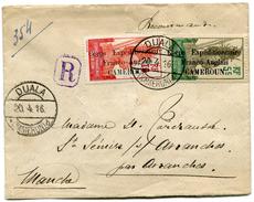 CAMEROUN LETTRE RECOMMANDEE AVEC AFFR. COMPLEMENTAIRE AU DOS DEPART DUALA 20-4-16 (KAMERUN) POUR LA FRANCE - Cameroun (1915-1959)