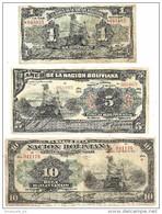 Bolivia Lot 1 - 5 - 10 Bolivianos 1911  .S. - Bolivia