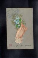 PETITE CPA CELLULOID CELLULOIDE AJOUTIS DECOUPIS CHROMO 1935 Main Fleurs Souvenir De BUFFIERES ( 6,5 X 10 Cm )-#429 - Fantaisies